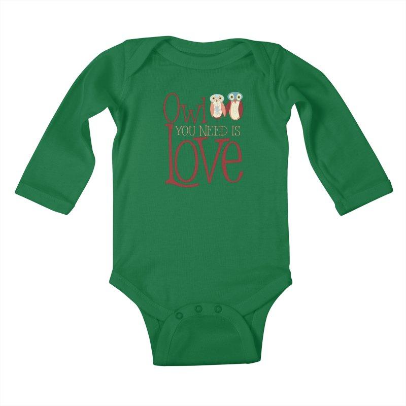 Owl You Need Is Love Kids Baby Longsleeve Bodysuit by Runderella's Artist Shop