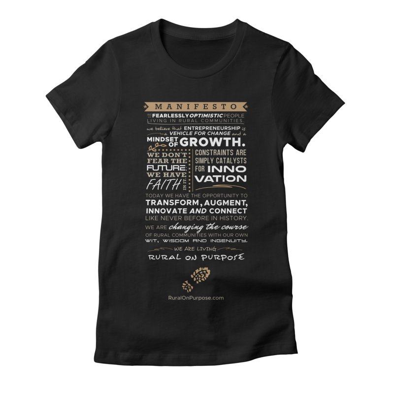 Rural On Purpose Manifesto (Black) Women's Fitted T-Shirt by RuralOnPurpose