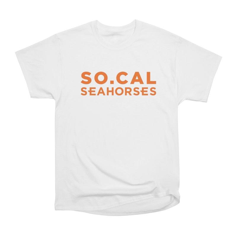 Seahorse Wordmark - Orange Men's Heavyweight T-Shirt by SEAHORSE SOCCER's Artist Shop