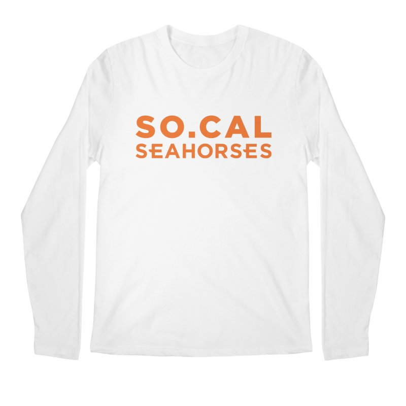 Seahorse Wordmark - Orange Men's Regular Longsleeve T-Shirt by SEAHORSE SOCCER's Artist Shop