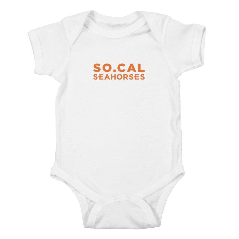 Seahorse Wordmark - Orange Kids Baby Bodysuit by SEAHORSE SOCCER's Artist Shop