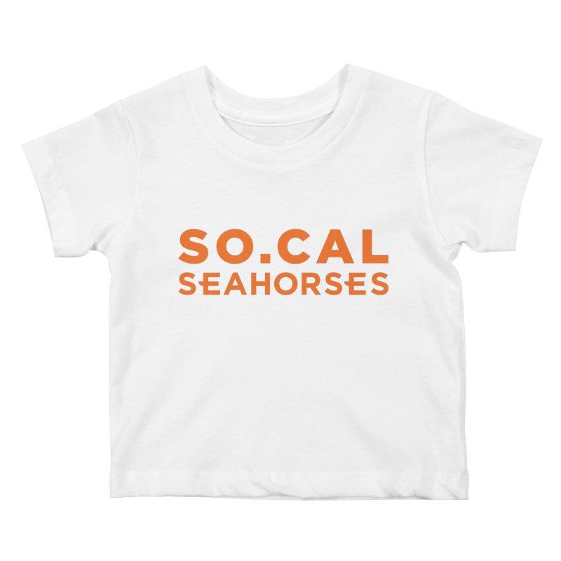 Seahorse Wordmark - Orange Kids Baby T-Shirt by SEAHORSE SOCCER's Artist Shop