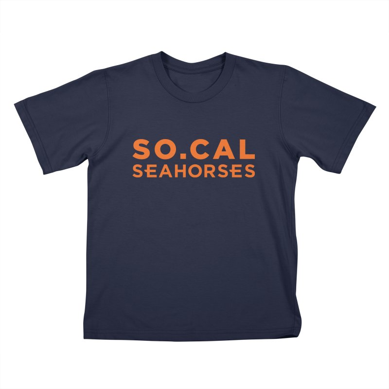 Seahorse Wordmark - Orange Kids T-Shirt by SEAHORSE SOCCER's Artist Shop