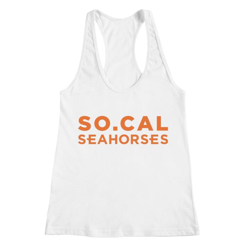 Seahorse Wordmark - Orange Women's Racerback Tank by SEAHORSE SOCCER's Artist Shop