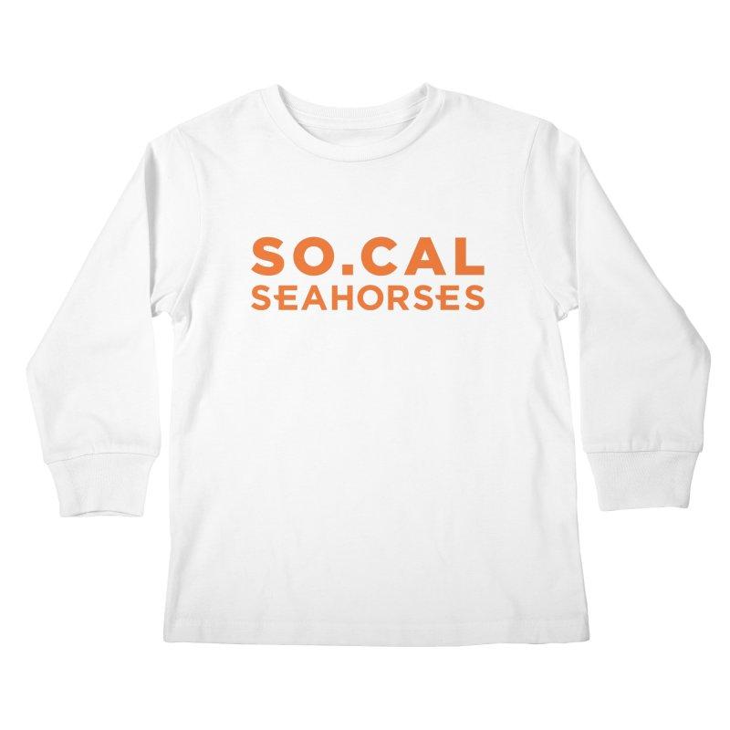 Seahorse Wordmark - Orange Kids Longsleeve T-Shirt by SEAHORSE SOCCER's Artist Shop