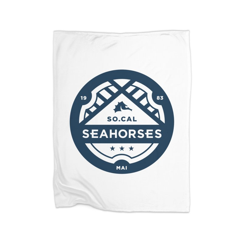 Seahorse Crest - Navy Home Fleece Blanket Blanket by SEAHORSE SOCCER's Artist Shop