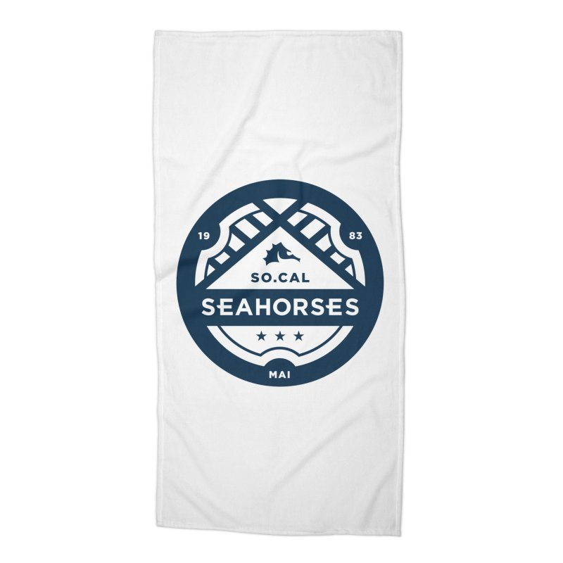 Seahorse Crest - Navy Accessories Beach Towel by SEAHORSE SOCCER's Artist Shop