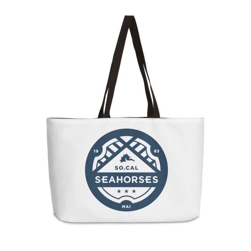 Seahorse Crest - Navy Accessories Weekender Bag Bag by SEAHORSE SOCCER's Artist Shop