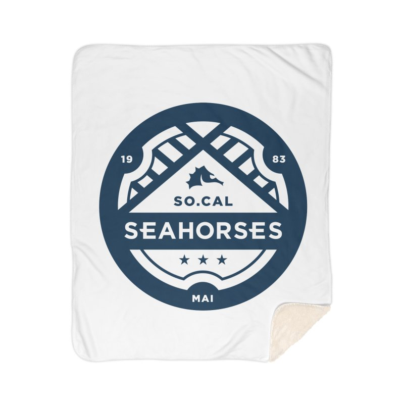 Seahorse Crest - Navy Home Sherpa Blanket Blanket by SEAHORSE SOCCER's Artist Shop