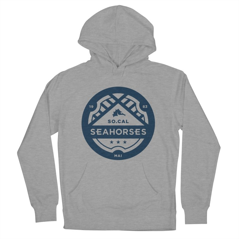 Seahorse Crest - Navy Men's French Terry Pullover Hoody by SEAHORSE SOCCER's Artist Shop