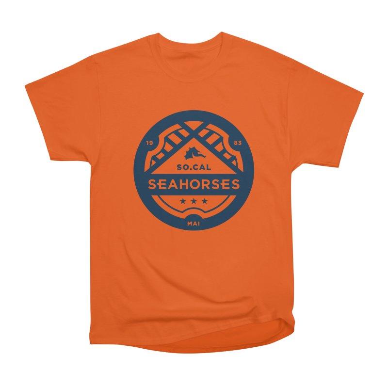 Seahorse Crest - Navy Women's Heavyweight Unisex T-Shirt by SEAHORSE SOCCER's Artist Shop