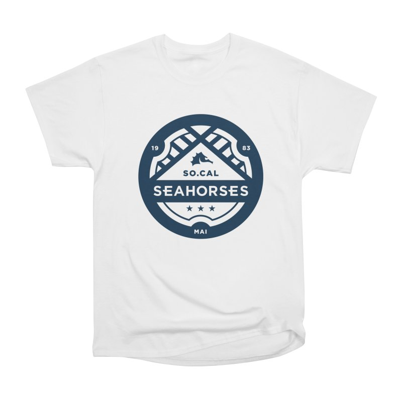 Seahorse Crest - Navy Women's Heavyweight Unisex T-Shirt by SEAHORSE SOCCER's Artist Shop