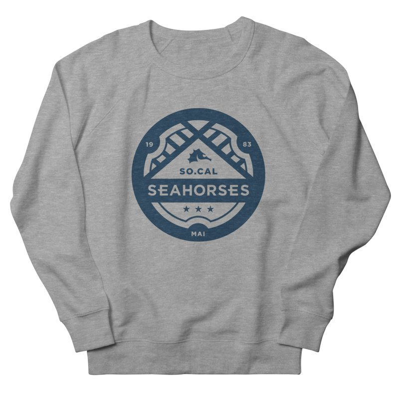 Seahorse Crest - Navy Men's French Terry Sweatshirt by SEAHORSE SOCCER's Artist Shop