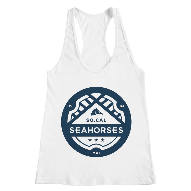 Seahorse Crest - Navy Women's Racerback Tank by SEAHORSE SOCCER's Artist Shop