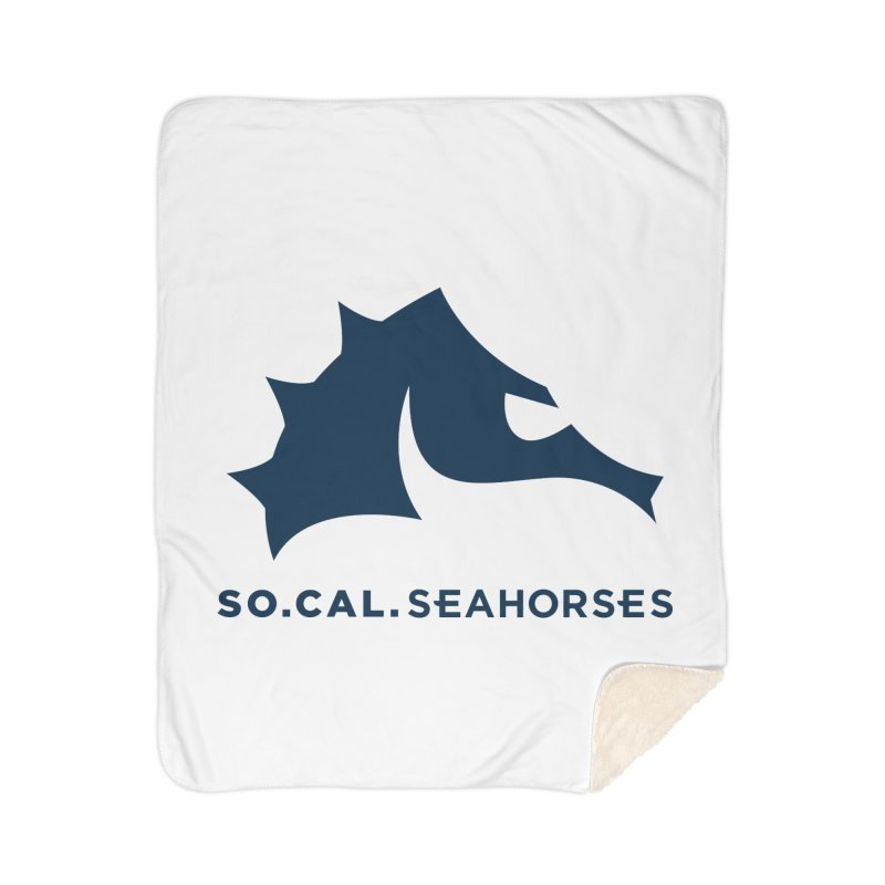 Seahorse Mascot / Wordmark - Navy Home Sherpa Blanket Blanket by SEAHORSE SOCCER's Artist Shop
