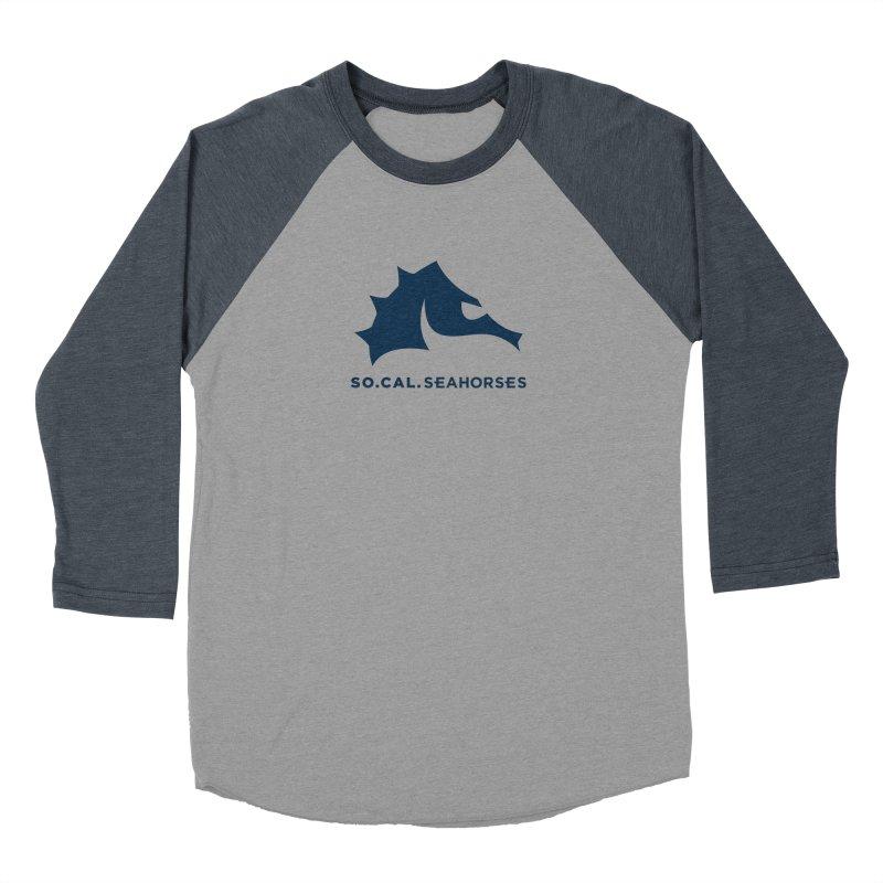Seahorse Mascot / Wordmark - Navy Men's Longsleeve T-Shirt by SEAHORSE SOCCER's Artist Shop