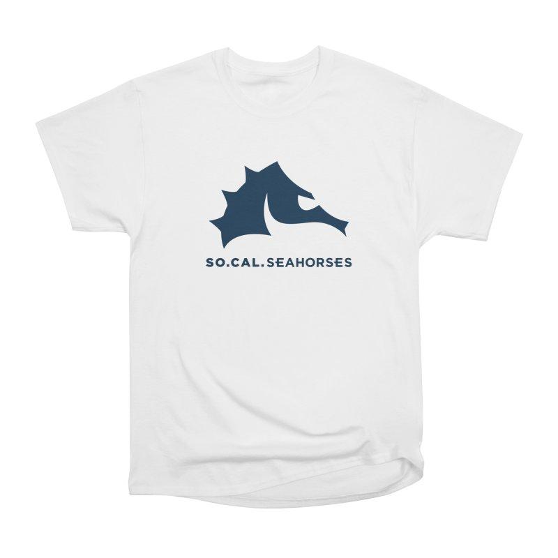Seahorse Mascot / Wordmark - Navy Men's Heavyweight T-Shirt by SEAHORSE SOCCER's Artist Shop