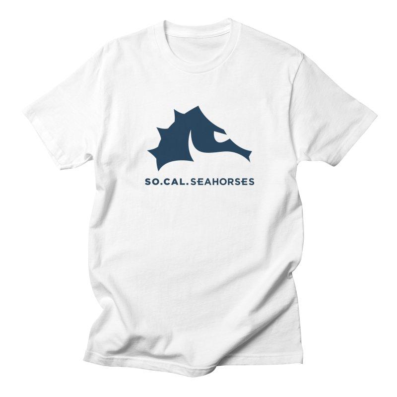 Seahorse Mascot / Wordmark - Navy Men's Regular T-Shirt by SEAHORSE SOCCER's Artist Shop