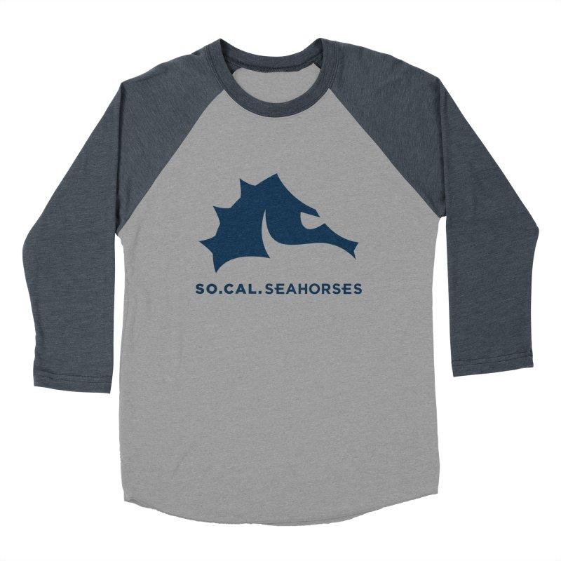 Seahorse Mascot / Wordmark - Navy Men's Baseball Triblend Longsleeve T-Shirt by SEAHORSE SOCCER's Artist Shop