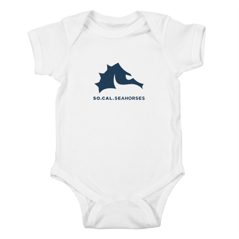 Seahorse Mascot / Wordmark - Navy Kids Baby Bodysuit by SEAHORSE SOCCER's Artist Shop