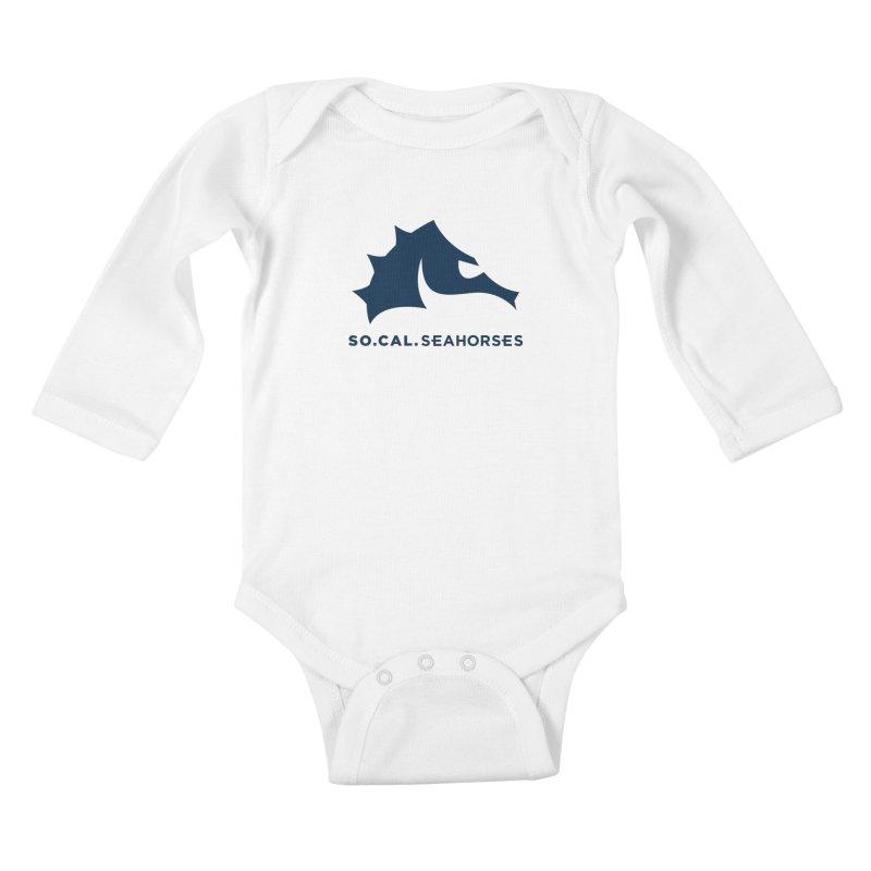 Seahorse Mascot / Wordmark - Navy Kids Baby Longsleeve Bodysuit by SEAHORSE SOCCER's Artist Shop