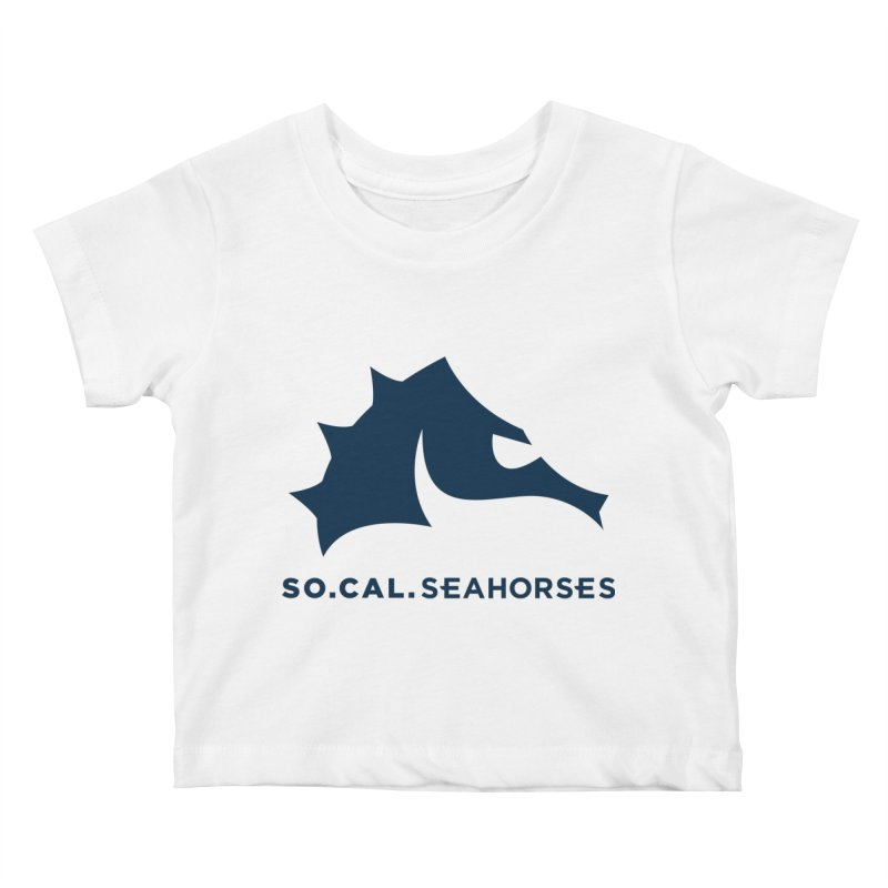 Seahorse Mascot / Wordmark - Navy Kids Baby T-Shirt by SEAHORSE SOCCER's Artist Shop