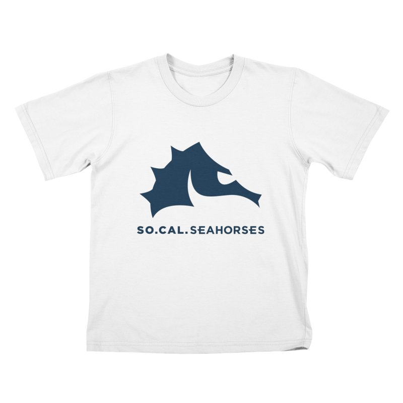 Seahorse Mascot / Wordmark - Navy Kids T-Shirt by SEAHORSE SOCCER's Artist Shop
