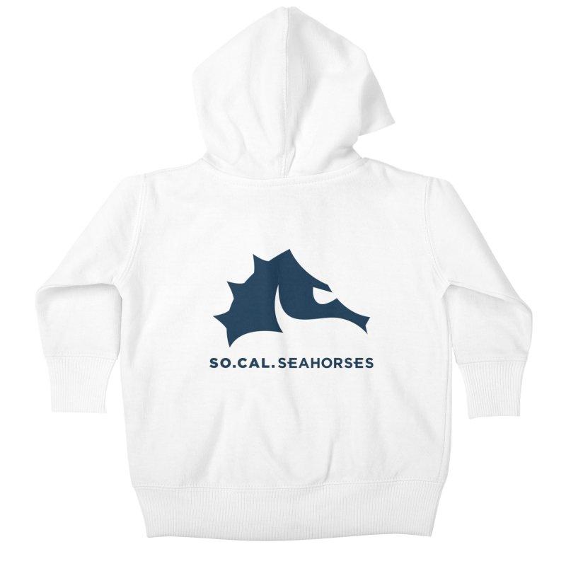Seahorse Mascot / Wordmark - Navy Kids Baby Zip-Up Hoody by SEAHORSE SOCCER's Artist Shop
