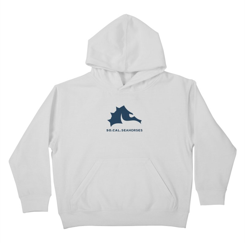Seahorse Mascot / Wordmark - Navy Kids Pullover Hoody by SEAHORSE SOCCER's Artist Shop