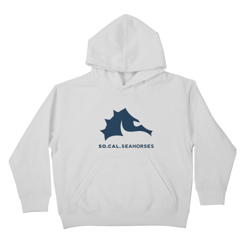Seahorse Mascot / Wordmark - Navy Kids Pullover Hoody by SEAHORSE SOCCER's Artist Shop