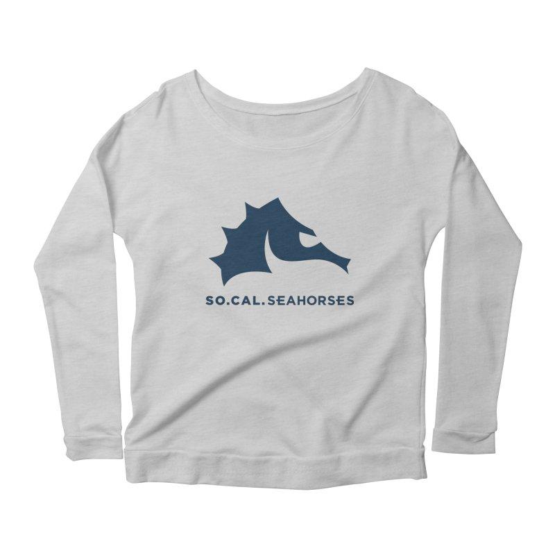 Seahorse Mascot / Wordmark - Navy Women's Scoop Neck Longsleeve T-Shirt by SEAHORSE SOCCER's Artist Shop