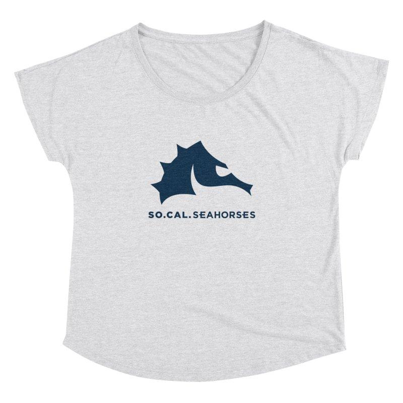 Seahorse Mascot / Wordmark - Navy Women's Dolman Scoop Neck by SEAHORSE SOCCER's Artist Shop