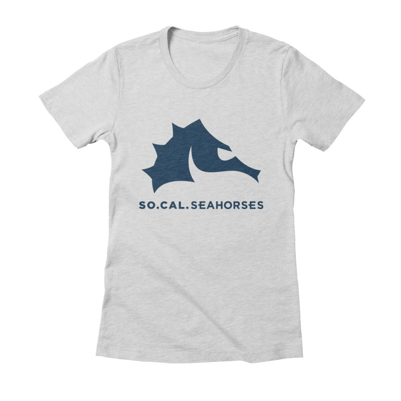 Seahorse Mascot / Wordmark - Navy Women's Fitted T-Shirt by SEAHORSE SOCCER's Artist Shop