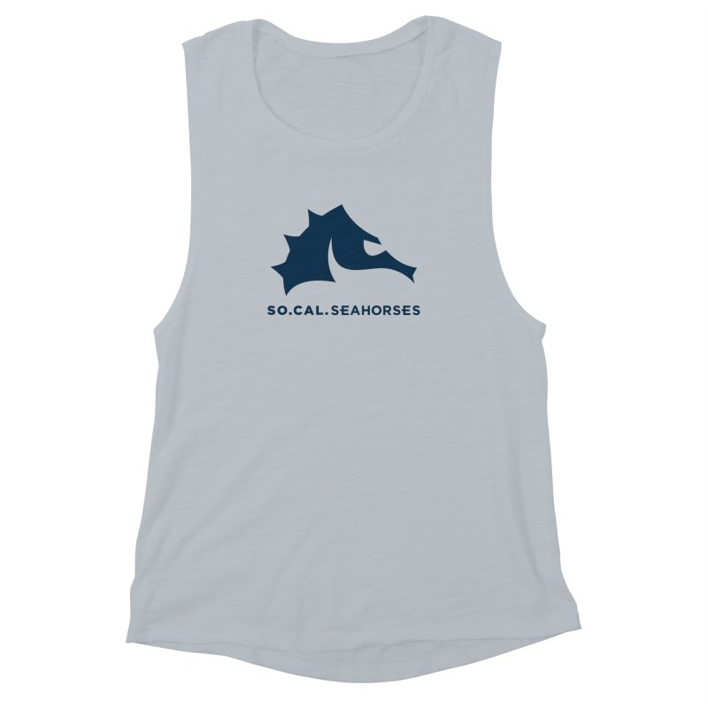 Seahorse Mascot / Wordmark - Navy Women's Muscle Tank by SEAHORSE SOCCER's Artist Shop