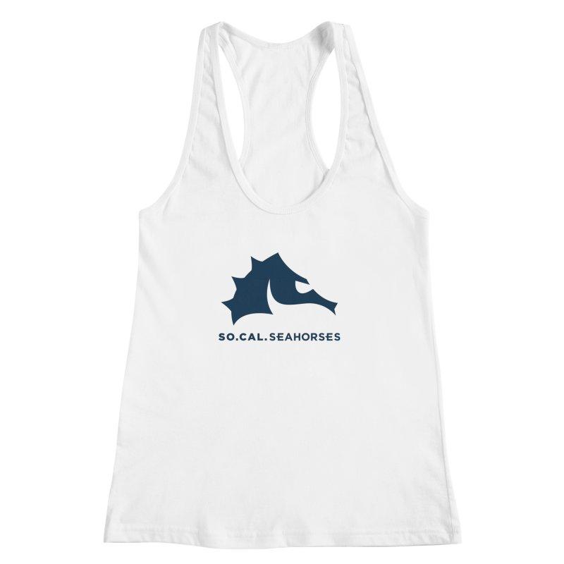Seahorse Mascot / Wordmark - Navy Women's Racerback Tank by SEAHORSE SOCCER's Artist Shop