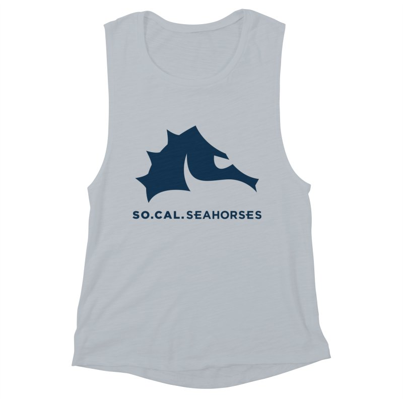 Seahorse Mascot / Wordmark - Navy Women's Muscle Tank by SEAHORSE SOCCER's Artist Shop