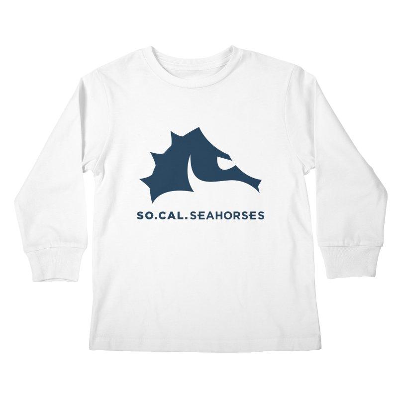 Seahorse Mascot / Wordmark - Navy Kids Longsleeve T-Shirt by SEAHORSE SOCCER's Artist Shop