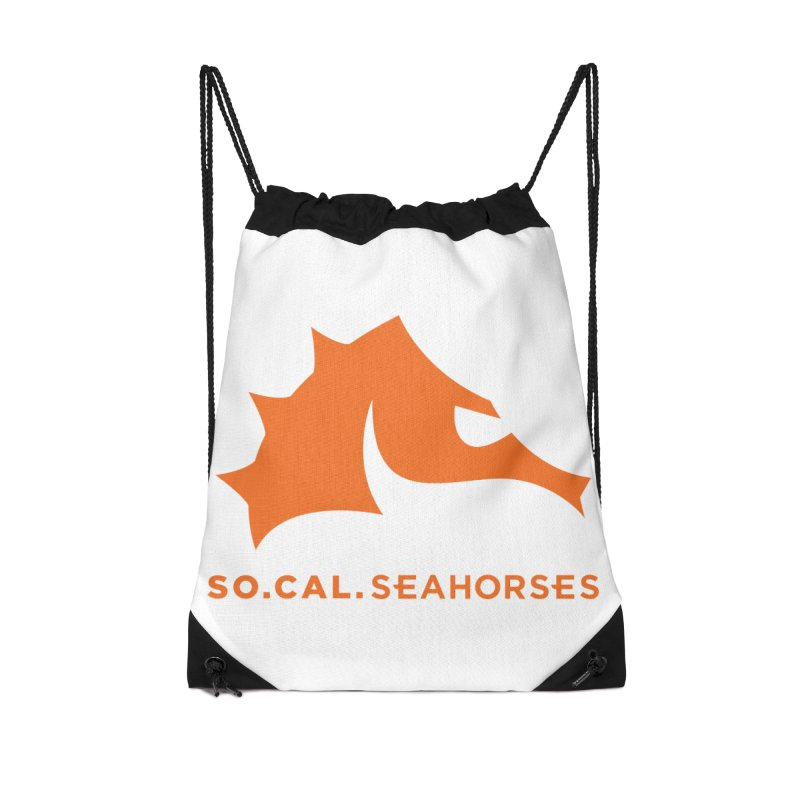 Seahorses Mascot / Watermark - Orange Accessories Drawstring Bag Bag by SEAHORSE SOCCER's Artist Shop