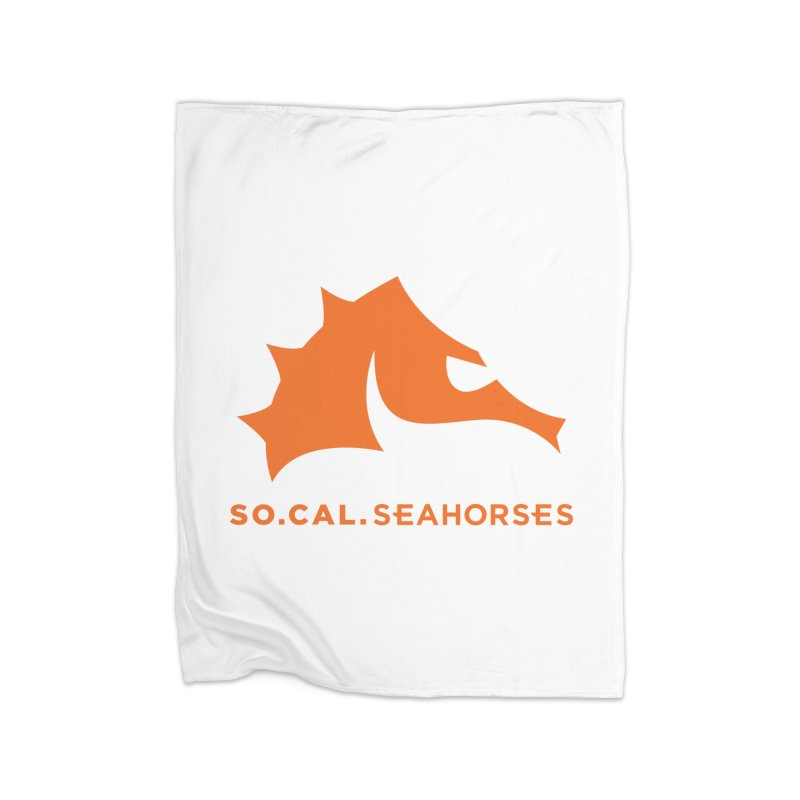 Seahorses Mascot / Watermark - Orange Home Fleece Blanket Blanket by SEAHORSE SOCCER's Artist Shop