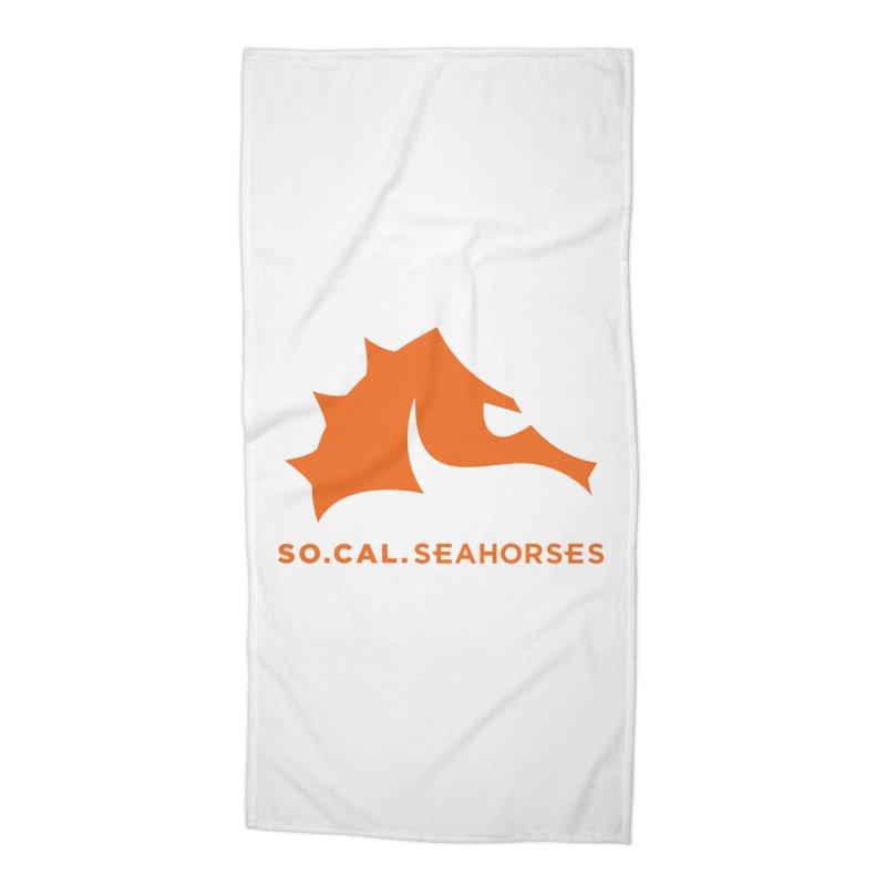 Seahorses Mascot / Watermark - Orange Accessories Beach Towel by SEAHORSE SOCCER's Artist Shop