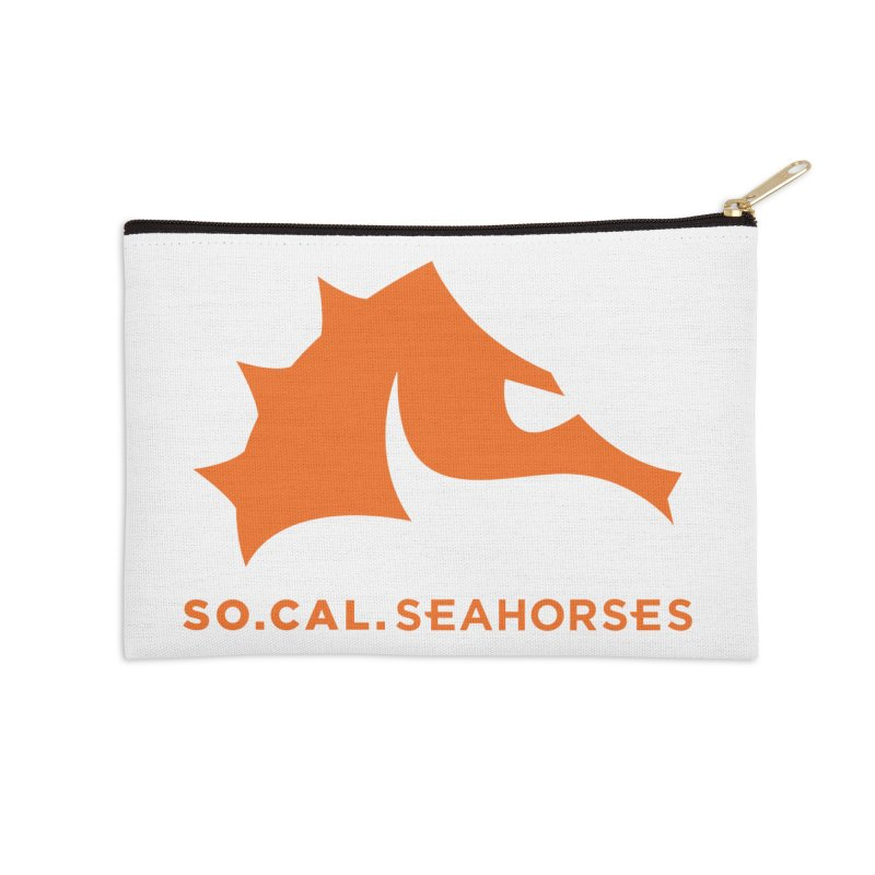 Seahorses Mascot / Watermark - Orange Accessories Zip Pouch by SEAHORSE SOCCER's Artist Shop