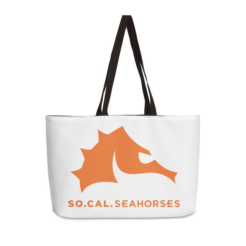 Seahorses Mascot / Watermark - Orange Accessories Weekender Bag Bag by SEAHORSE SOCCER's Artist Shop