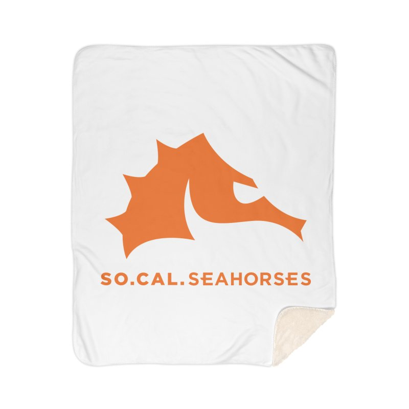 Seahorses Mascot / Watermark - Orange Home Sherpa Blanket Blanket by SEAHORSE SOCCER's Artist Shop