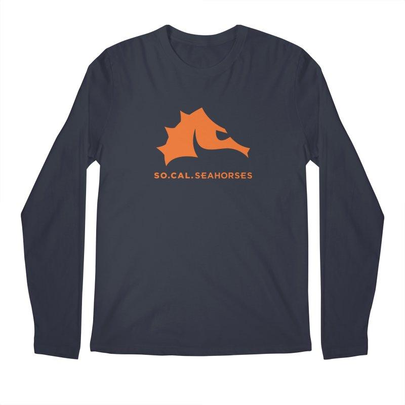 Seahorses Mascot / Watermark - Orange Men's Longsleeve T-Shirt by SEAHORSE SOCCER's Artist Shop