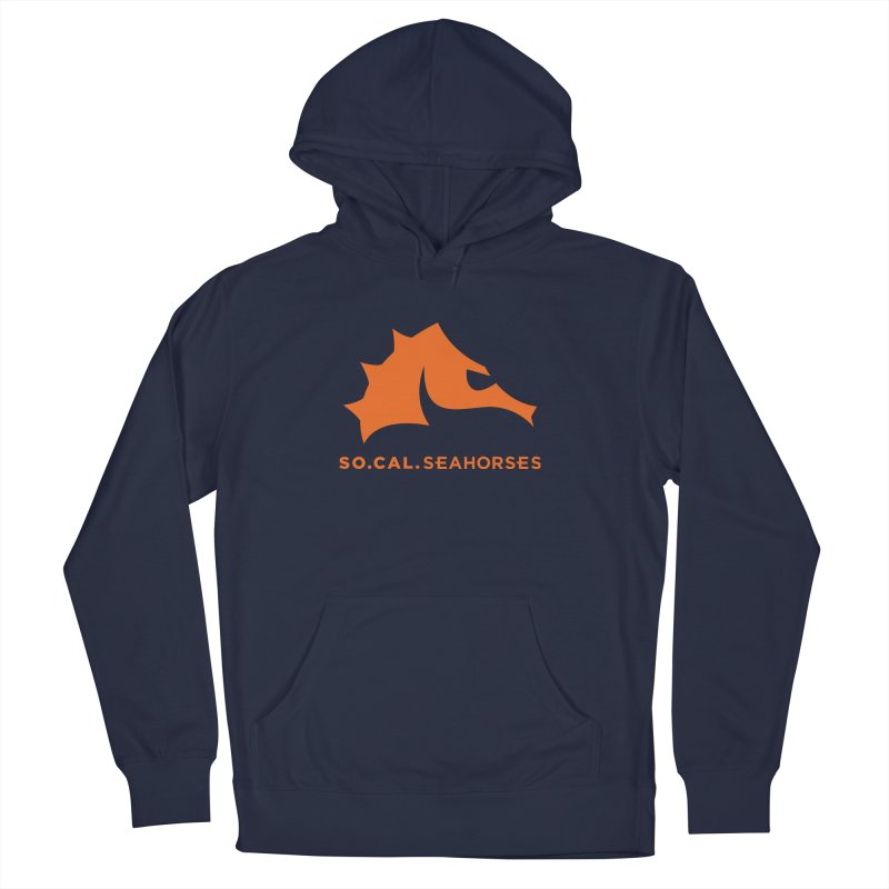 Seahorses Mascot / Watermark - Orange Men's French Terry Pullover Hoody by SEAHORSE SOCCER's Artist Shop