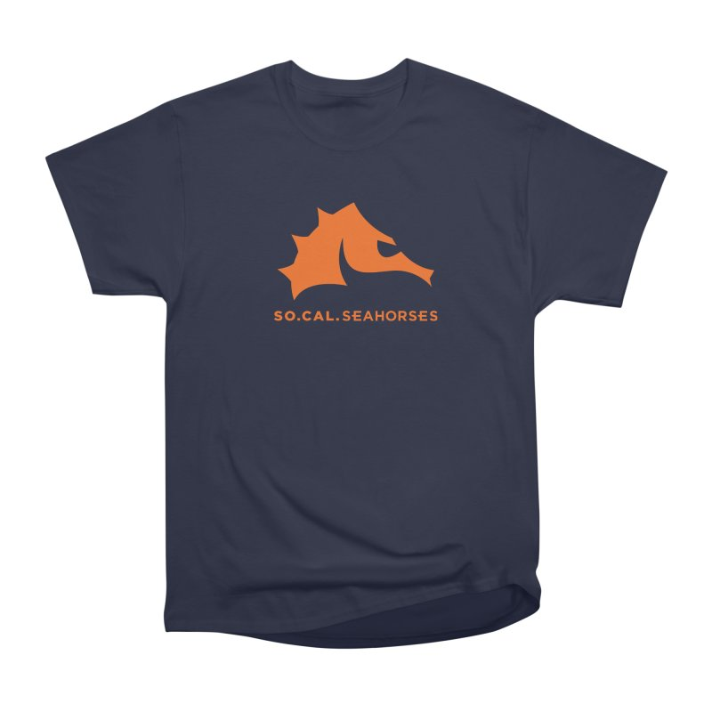 Seahorses Mascot / Watermark - Orange Women's Heavyweight Unisex T-Shirt by SEAHORSE SOCCER's Artist Shop