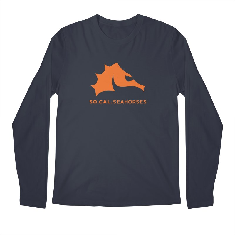 Seahorses Mascot / Watermark - Orange Men's Regular Longsleeve T-Shirt by SEAHORSE SOCCER's Artist Shop