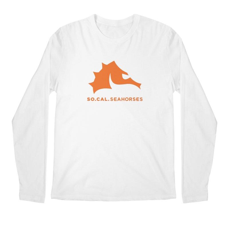 Seahorses Mascot / Watermark - Orange Men's Regular Longsleeve T-Shirt by SEAHORSE SOCCER's Artist Shop