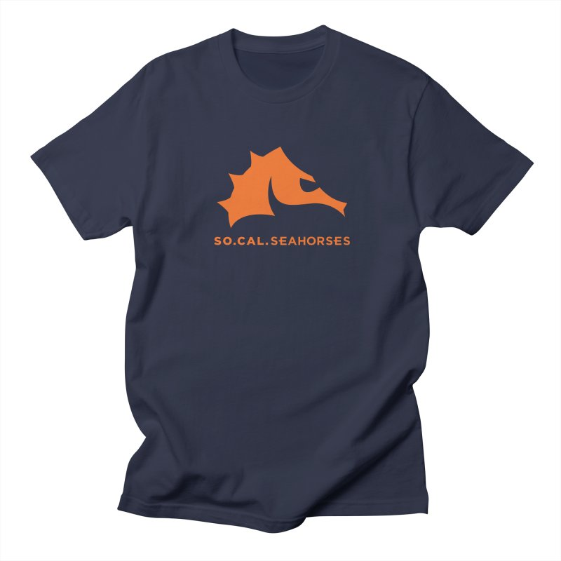 Seahorses Mascot / Watermark - Orange Men's Regular T-Shirt by SEAHORSE SOCCER's Artist Shop