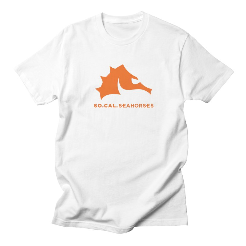 Seahorses Mascot / Watermark - Orange Men's T-Shirt by SEAHORSE SOCCER's Artist Shop